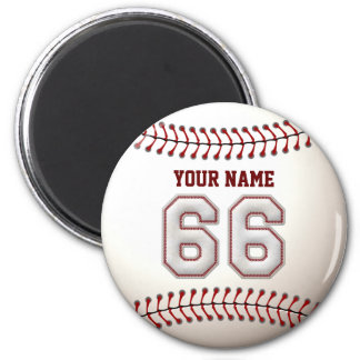 Baseball Stitches Player Number 66 and Custom Name 2 Inch Round Magnet