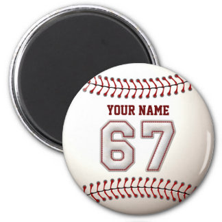 Baseball Stitches Player Number 67 and Custom Name 2 Inch Round Magnet