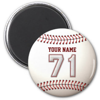 Baseball Stitches Player Number 71 and Custom Name 2 Inch Round Magnet