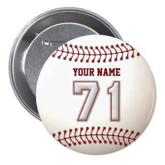 Baseball Stitches Player Number 71 and Custom Name Pinback Button