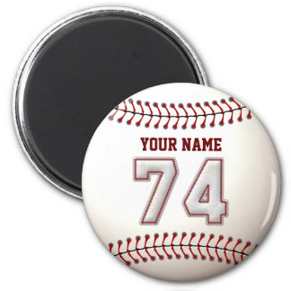 Baseball Stitches Player Number 74 and Custom Name 2 Inch Round Magnet