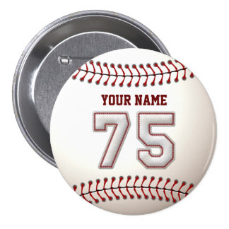 Baseball Stitches Player Number 75 and Custom Name Pinback Button
