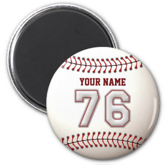 Baseball Stitches Player Number 76 and Custom Name 2 Inch Round Magnet