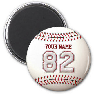 Baseball Stitches Player Number 82 and Custom Name 2 Inch Round Magnet