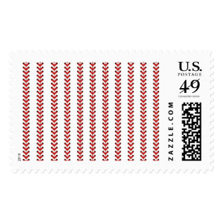 Baseball Stitches Vertical Stripes Pattern Art Postage