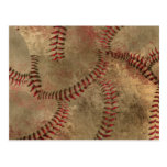 Baseball Stitching Collage Background Postcard