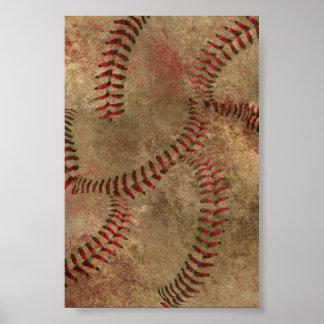 Baseball Stitching Collage Background Poster