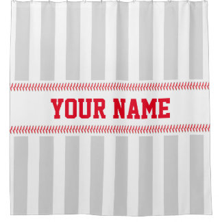 Baseball Stitching Sport Themed with Name Stripes Shower Curtain