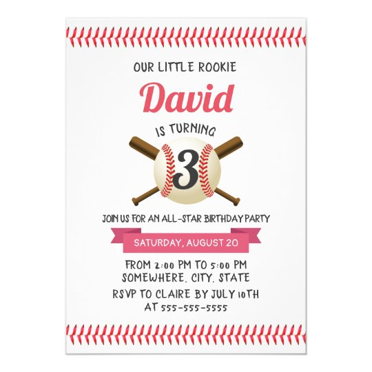 baseball stitching sports theme birthday party invitation zazzle com
