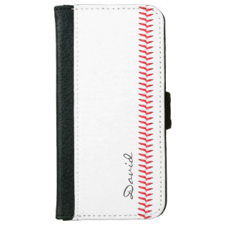 Baseball Stitching Sports Themed with Name iPhone 6/6s Wallet Case