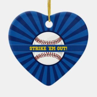 """Baseball Strike """"Em Out Ceramic Ornament"""