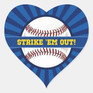 "Baseball Strike ""Em Out Heart Sticker"