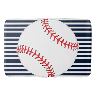 Baseball Stripes Design Bath Mat Bath Mats