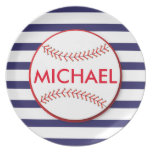 Baseball Stripes - Personalized Melamine Plate