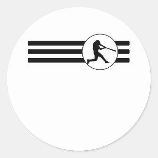 Baseball Stripes Round Sticker