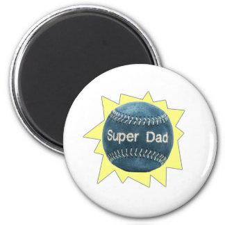 Baseball Super Dad 2 Inch Round Magnet