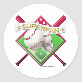 Baseball Superfan Classic Round Sticker