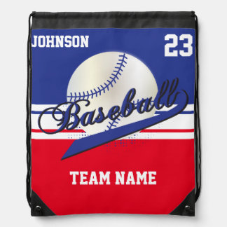 Baseball Team | Dark Blue, White, Red | DIY Text Drawstring Backpack