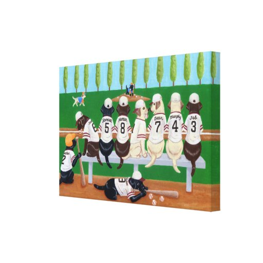 Baseball Team Labradors Painting Canvas Print