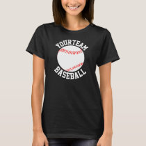 Baseball Team, Player Name & Number Womens T-Shirt