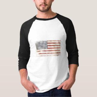 Baseball Tee with Distressed USA Flag