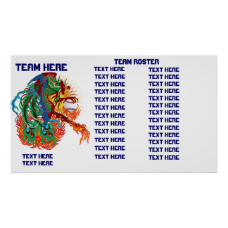 Baseball Template Team Roster Customize Poster