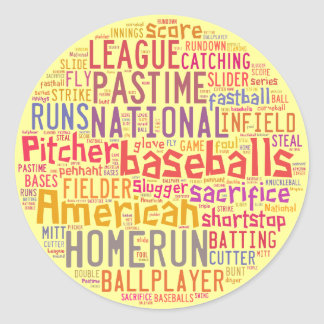 Baseball Text Collage Classic Round Sticker