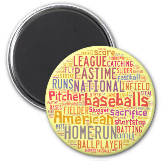Baseball Text Collage Magnet