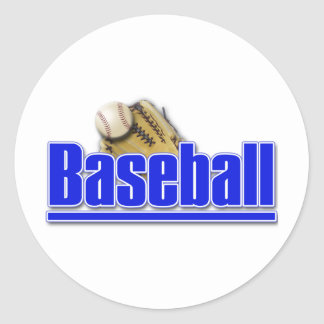 BASEBALL Text with Ball and Glove Classic Round Sticker