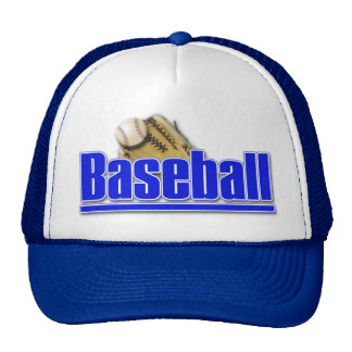 BASEBALL Text with Ball and Glove Trucker Hats