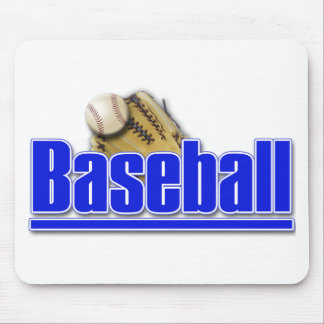 BASEBALL Text with Ball and Glove Mouse Pad