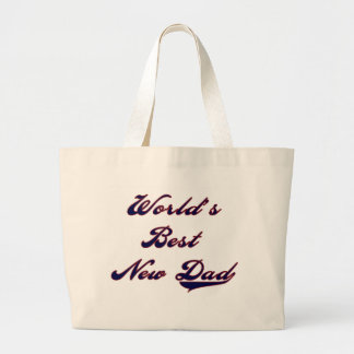 Baseball Text World's Best New Dad Large Tote Bag