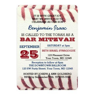 Baseball Texture Bar Mitzvah Invitation