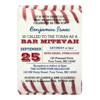 Baseball Texture Bar Mitzvah Invitation