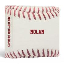 Baseball Texture Personalized 3 Ring Binder