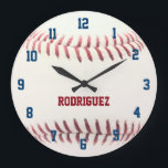 "Baseball Texture Personalized Wall Clock<br><div class=""desc"">Celebrate your love of baseball with this baseball themed wall clock.  Perfect for a kid&#39;s bedroom,  the man cave,  or anywhere! Personalize with a name or team name!</div>"