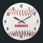 """Baseball Texture Personalized Wall Clock<br><div class=""""desc"""">Celebrate your love of baseball with this baseball themed wall clock.  Perfect for a kid&#39;s bedroom,  the man cave,  or anywhere! Personalize with a name or team name!</div>"""