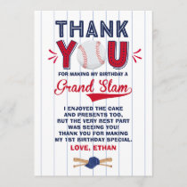 Baseball Thank You Card Baseball 1st Birthday