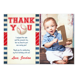 Baseball Thank You Card Baseball Birthday Boy