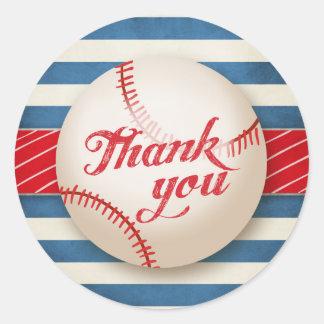 Baseball Thank You Sticker Birthday Party Boy