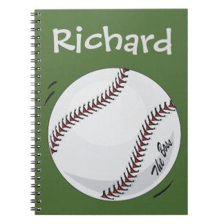 Baseball  'The Boss' ~editable name & colour Notebook
