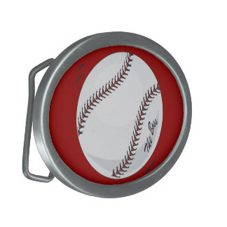 Baseball 'The Boss' ~  with editable background Oval Belt Buckle