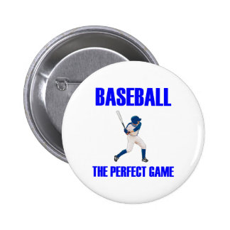 Baseball the Perfect Game Blue Print Button