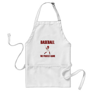 Baseball the Perfect Game Red Print Adult Apron
