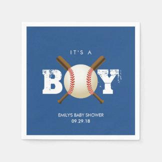 Baseball Theme Baby Boy Navy Blue Baby Shower Paper Napkin