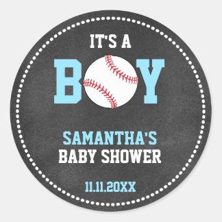 Baseball Theme Baby Shower Chalkboard Blue Boy Classic Round Sticker