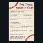 """Baseball Theme Baby Shower Nursery Rhyme Quiz Game Flyer<br><div class=""""desc"""">Our vintage baseball themed baby shower nursery rhyme quiz game has 15 nursery rhyme phrases with words missing. Have guests complete the rhymes and whoever gets the most correct wins. ANSWER KEY: 1)Flute 2)Basket 3)Wool 4)Pig 5)Muffin Man 6)Clock 7)Sons 8)Pail of water 9)Fat 10)Sheep 11)Field mice 12)Curds and Whey 13)Garden...</div>"""