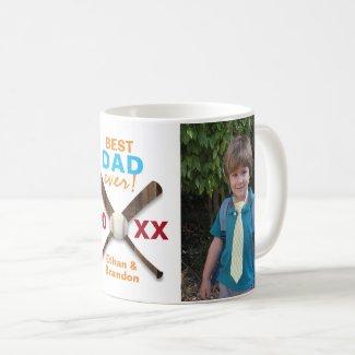 Baseball Theme Best Dad Ever Custom Photo Coffee Mug