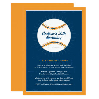 Baseball Theme Birthday Invitations   Blue Orange