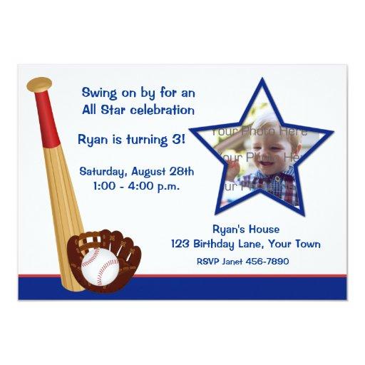 Baseball Theme Birthday Photo Invitation